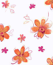 Candice Olson Kids Orange Pink Floral Wallpaper CK7708