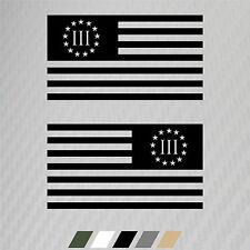 "2 - 5""x9"" Subdued Three Percenter American Flag Sticker Decal Veteran Military"