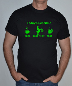 KAWASAKI COLOURS ,TRAILS,TODAYS SCHEDULE,GREEN ,BIKE MOTORCYCLE FUN T SHIRT