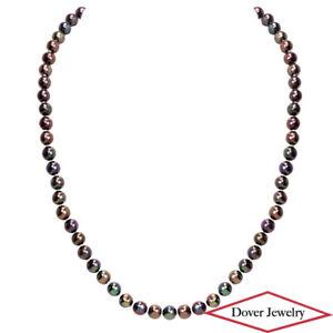 Estate Peacock Pearl 14K Gold 18'' Long Bead Necklace 27.5 Grams NR