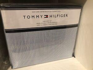 Tommy Hilfiger White & Blue Stripes King Sheet Set 4pc New