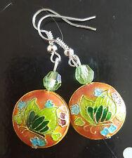 Cloisonne butterfly design bead, silver plated earrings ,orange/green 370