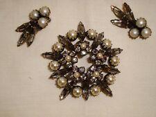Signed Sherman grey rhinestone & pearls brooch pin & clip earrings parure RARE!!