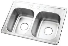 Drop-In Kitchen Sink Bowl 3-Hole Rectangular Stainless Steel Double-Basin 33-in