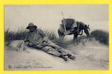 """cpa BELGIQUE Postcard COXYDE sur MER """"Les BAINS"""" Un PÊCHEUR Fisherman à Cheval"""
