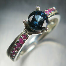 0.60ct Natural dark blue noble Spinel & ruby Sterling 925 silver engagement ring