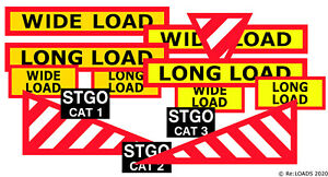OO UK Model Lorry WIDE, LONG, ABNORMAL LOAD & LONG VEHICLE Signs, Marker Boards