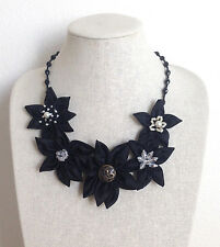 Statement Necklace Black Fabric Floral Flower Textile Handmade Crystal New