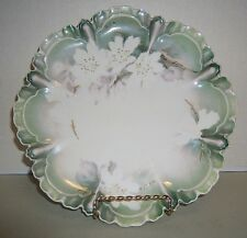 RS Prussia Plate White Dogwood Light Green and Gold Trim Scalloped Edge 8 1/2""
