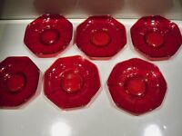 6 VINTAGE RUBY GLASS SAUCERS 5 1/2''