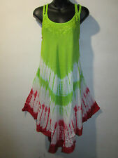 Dress Fits XL 1X 2X 3X Plus Sundress Green Red Tie Dye Hemline A Shaped NWT 608