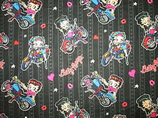 BETTY BOOP MOTORCYCLE BIKER BABE BLK FLANNEL FABRIC FQ