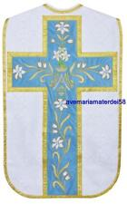 White or Silver Brocade Marian Fiddleback Chasuble Set Stole,Maniple,Veil,Burse