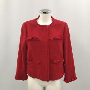 L K Bennett Tailored Jacket Women Size 12 Red Cotton Collarless Formal 304007