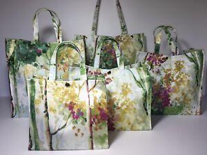 Nikki's Original Totes Handmade Cotton Oilcloth Bag Silver Birch - Orchid & Sage
