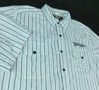 Harley Davidson Motorcycles White Black Gray Striped Short Sleeve Shirt Sz XL