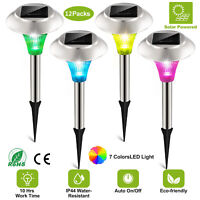 12 Pack Outdoor Stainless Steel LED Solar Power Light Color Changing Garden Lamp