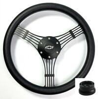 "14"" Black Banjo Steering Wheel, Black Wrap, Chevy Horn Button, Adapter"