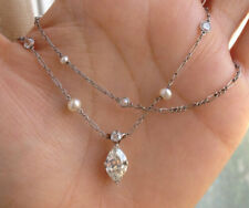 """VINTAGE 1.25CT OLD MARQUIS CUT DIAMOND & PEARL 14K WHITE OVER YARD 18"""" NECKLACE"""