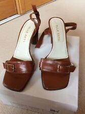 ELLE ZETA. Designer tomaia in pelle marrone e suola Scarpa Cinturino Alla Caviglia Misura 6 EUR 39