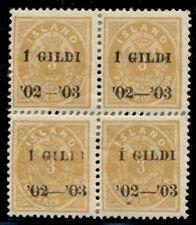 ICELAND #49 (48), 3aur I GILDI, perf 13, og, sensibly reinforced Block of 4