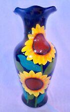 décoratif GRAND VASE sonnenblumenmuster en bleu 46cm Neuf Déco peint à la main %