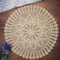 Vintage Hand Crochet Doily Round Cotton Lace Table Cloth Cover Mats 60cm Pattern