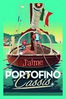 J' aime Portofino e' Cassis Blechschild Schild gewölbt Metal Tin Sign 20 x 30 cm