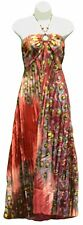 NEW Red Beaded Keyhole Peacock Print Halter Cocktail Dress One Size M L XL 1 X