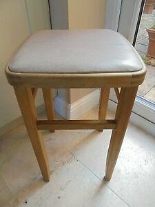Vintage retro 70s kitchen stool, pale pink vinyl seat, beech, mid century