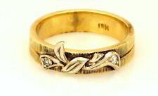 vintage estate 10k yellow gold diamond wedding band size 5 ring white bow ribbon