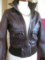 Ladies NEXT brown real leather JACKET COAT size 8 biker bomber ribbed cuffs