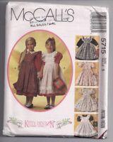 McCall Kitty Benton Dress & Pinafore Vintage Sewing Pattern Sz 5 UNCUT