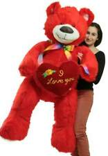 Life Size 5 Foot Red Teddy Bear I Love You Heart Big Plush Soft Made in USA