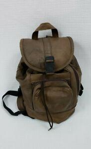 Vintage Rugged Genuine Leather Made in Mexico Brown Backpack Bag Rucksack H87