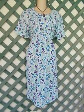 DARIAN BLUE PURPLE FLORAL PINTUCK DRESS 14P CAREER CHURCH PARTY WEDDING