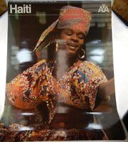 Original American Airlines AA Haiti Travel Advertising Poster Vintage 60s/70s