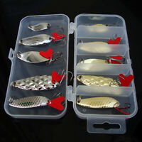 10pcs Metal Fishing Lures Tackle Saltwater Crank Bait Bass Minnow Spoon Hooks