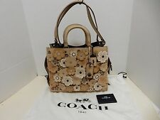 NWT COACH 1941 Beige Leather Tea Rose Applique Tote with Dust Bag
