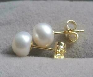 Large 8-9mm AAA White Akoya  Natural Pearl Earrings 14k Gold P Stud