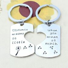 925 Silver Plt Distance Means Little You Mean so Much Engraved Keyrings a