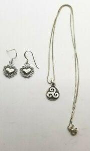 Lot of 2 .925 Sterling Silver - Heart Earrings & Celtic Triple Spiral Necklace