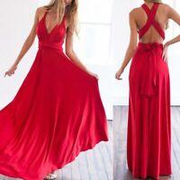 Women's maxi bridesmaid dress beach evening dresses convertible multi way wrap