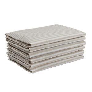 Cotton Napkins Stripes Beige & White 6/pack