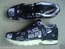 """Adidas ZX Flux 44 2/3 """"Place Holder"""" Originals Core Blk/Running Wht Glow Midsole"""