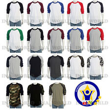 Raglan 3/4 Sleeve Cotton Plain Baseball T- shirts Team Sports Jersey Tee  S~3XL