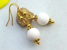 Ohrringe Weiße KORALLE Edelstein Schaumkoralle Perlen Ohrhänger vergoldet Neu