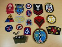 Lot of 18 Vintage Military Patches - USCG - Air Force - WWII - Sweatband