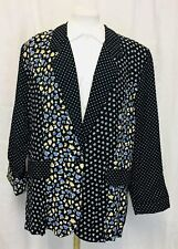 Vintage 80's Silky Floral and Polka Dot Blazer Jacket. Women's. Large.