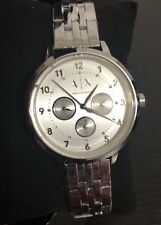 NWT Armani Exchange Ladies Silver Tone Stainless Steel Crystal Dial WATCH